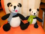 Hand Knitted Panda Bears by Supach
