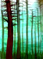 Perspective in forest by Ellaidathea