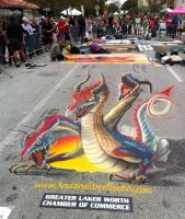 Three headed 3D dragon by AmazingStreetPaint