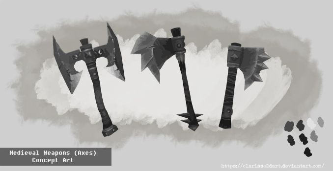 Medieval Weapons (Axes) Concept Art by Clarisse2DArt