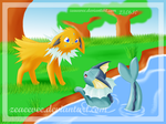 Vaporeon-F and Jolteon-M by zeaeevee