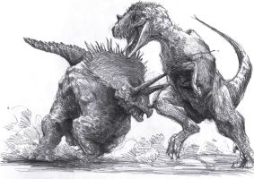 Triceratops and Tyrannosaurus by Zombiraptor