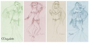 The four Goddesses - sketch by Maga-Link