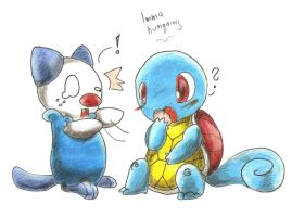 Oshawott and Squirtle by VapxNid