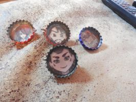 Bottle cap buttons by Fated-Wings