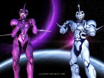 Guyver 1 and Female Guyver 2 by LordFreeza