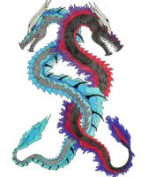 Water and Fire Dragons Colored by Linear13
