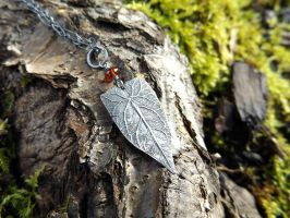 Elven Leaf with Garnet by QuintessentialArts