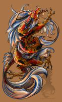 Koi Dragon tattoo by YamiGriffin