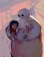 Baymax Hug WIP by OrcaOwl