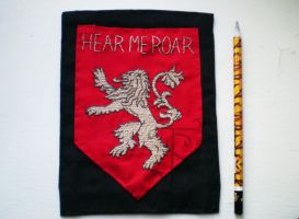 Embroidered house Lannister coat of arms by sleepyhamsteri
