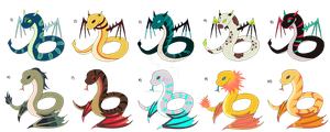 Mythical Snakes Adoptables CLOSE by lit-nebulosa