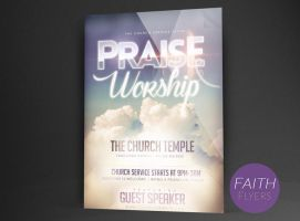 Praise Worship Church Flyer Template by ImperialFlyers