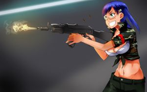 Gun Girl With AK 47 Alternate by Orinknight