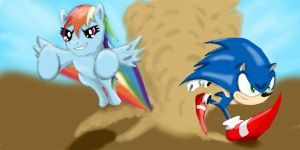 Rainbow Dash vs. Sonic by juug