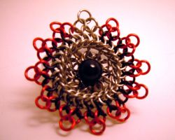 Black and Red Kuchi Broochie by chainmaille