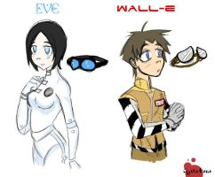 Human Wall-E and Eve by JigokuHana