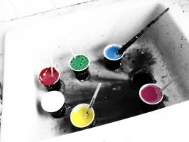 Cups with paint in them by Dannsquire