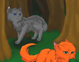 Squirrelflight and Ashfur by StormFalconFire