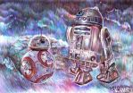Star Wars VII fanart/ BB-8 and R2-D2 by snowmarite