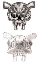 Skull with Pistols Tattoo by Metacharis
