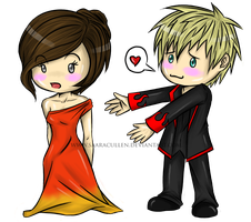 Katniss and Peeta chibis by SaaraBlitz