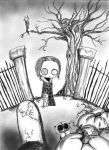 Lenore at the graveyard by furiouskitten