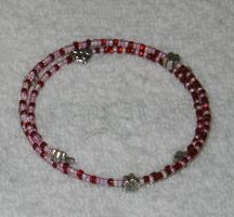 Red pink silver bracelet by FroggyDreams