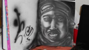 Tupac Airbrush portrait Study by AntonSterling