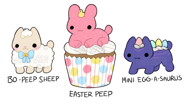 Easter Mallow Cats (REDUCED PRICE - 1/3 OPEN) by dreamywren