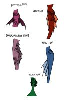 Fairy Tale Rejects Concept Art: Mermaid Tail Fins by Jakegothicsnake