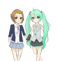 Ritsu and Miku by aloecat