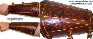 Clockwork Tooled Leather Bracer by Steampunked-Out