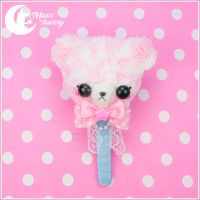 Crochet fuzzy lollipop bear brooch and clip by CuteMoonbunny