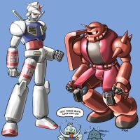 Super Robot Gundam and Zaku by torokun