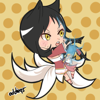 League of Legends - Ahri (Chibi) by Hakures