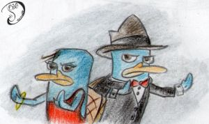jess and perry the platypus by SfinJe