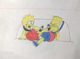 Lisa kicks Bart :D by Shagggy1987