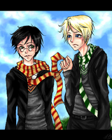 Draco and Harry by EechoXii