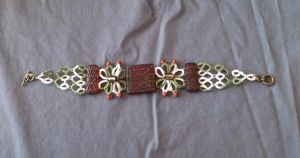 Green and White Flower Bracelet by Dorothy-T-Rose