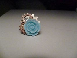 Blue Rose Gear Ring by Rainbowkitty-Designs