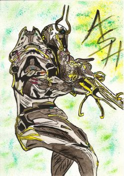 Ash Prime - Warframe - Paintbrush and Ink colors by DenebNajm