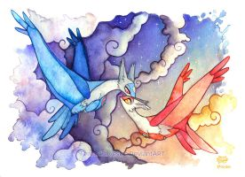 Latios and Latias by FennecSilvestre