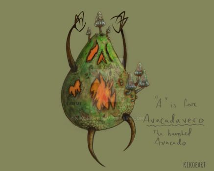 A is for AvOcadavero - The Haunted Avocado 01 by kikoeart