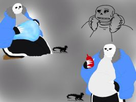 Undertale: Chubby Sans sketches -colored- by BlackDragon-Studios