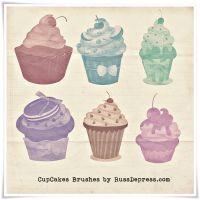 CupCakes High Res shabby chick PS brushes by RussDepress
