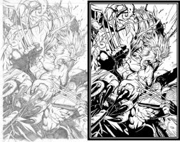 Wolverine vs Sabretooth - Inks by LucidCreations