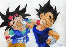 goku and vegeta by L3lith