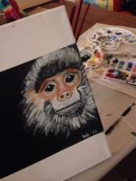 Endangered red shanked douc langur by goshilpa