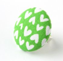 Large green button ring - white hearts love happy by KooKooCraft